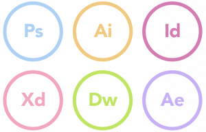 Graphic showing Adobe Expert Skills in PS, AI, ID, XD, DW and AE