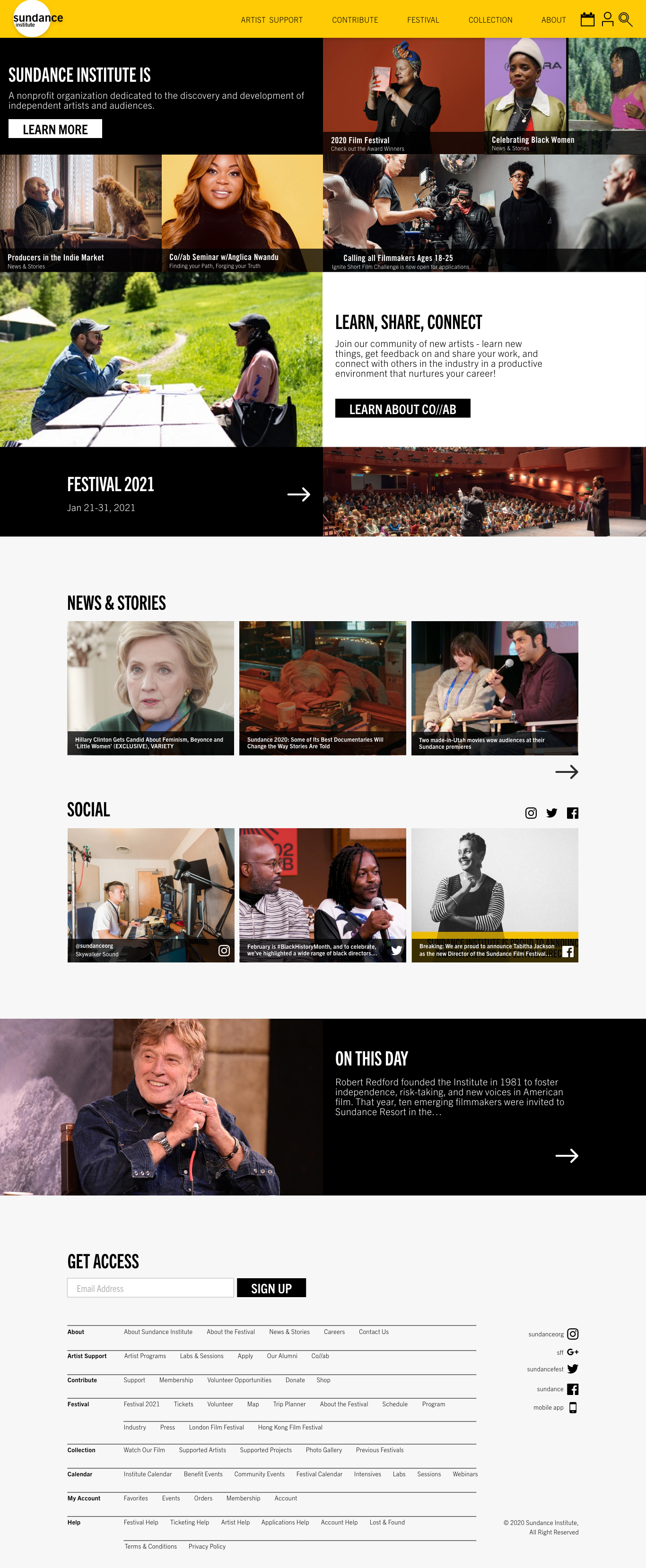 Sundance Mockup | Home Page