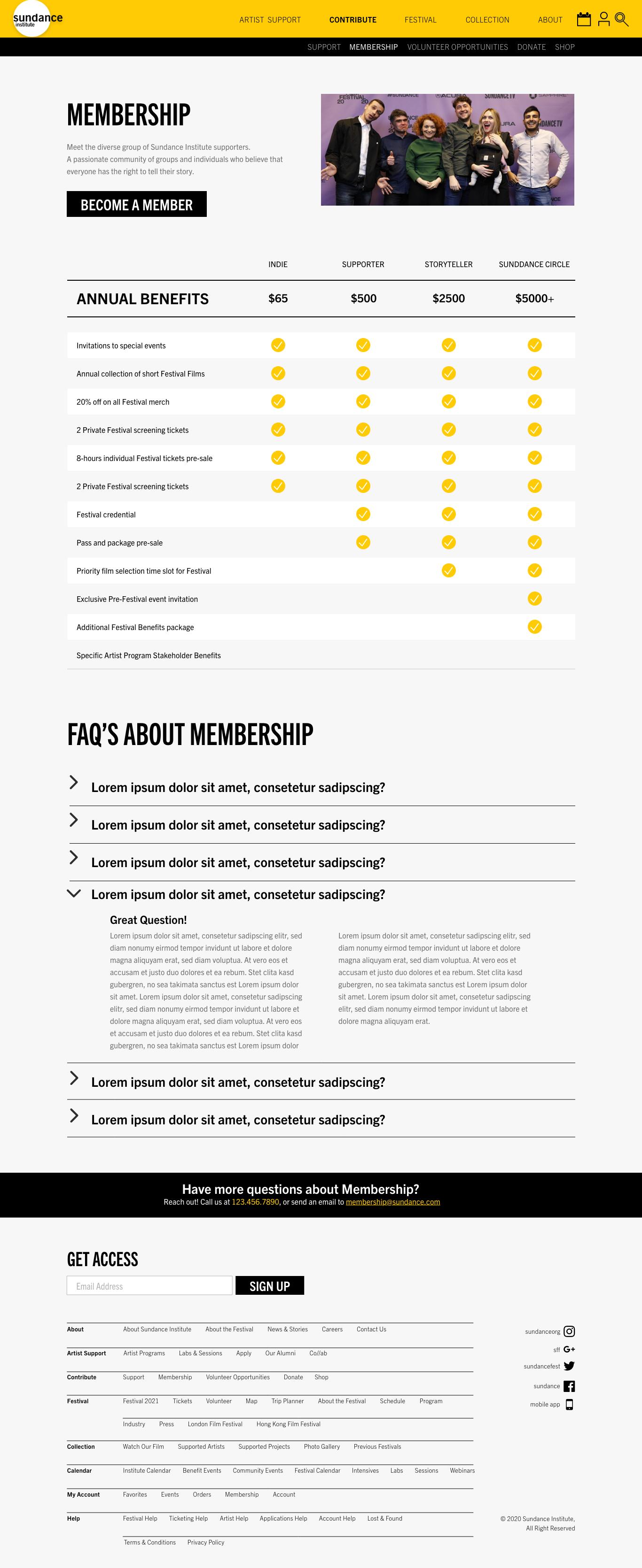 Sundance Mockup | Membership Page