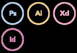 Adobe XD, Illustrator, InDesign and Photoshop