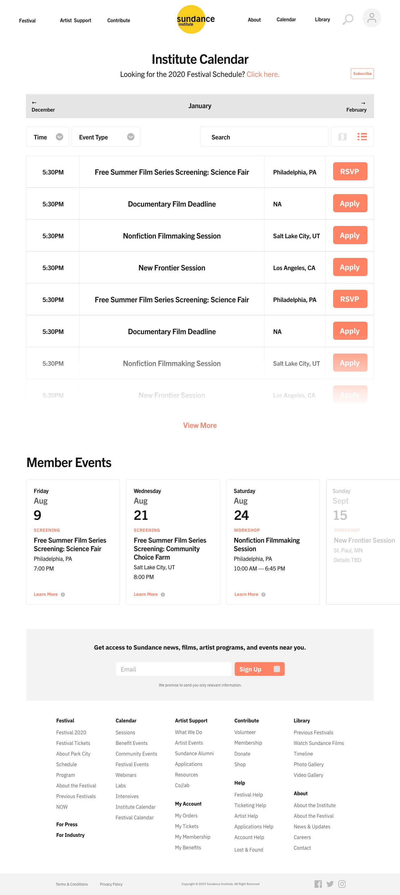 Sundance Mockup | Calendar Page