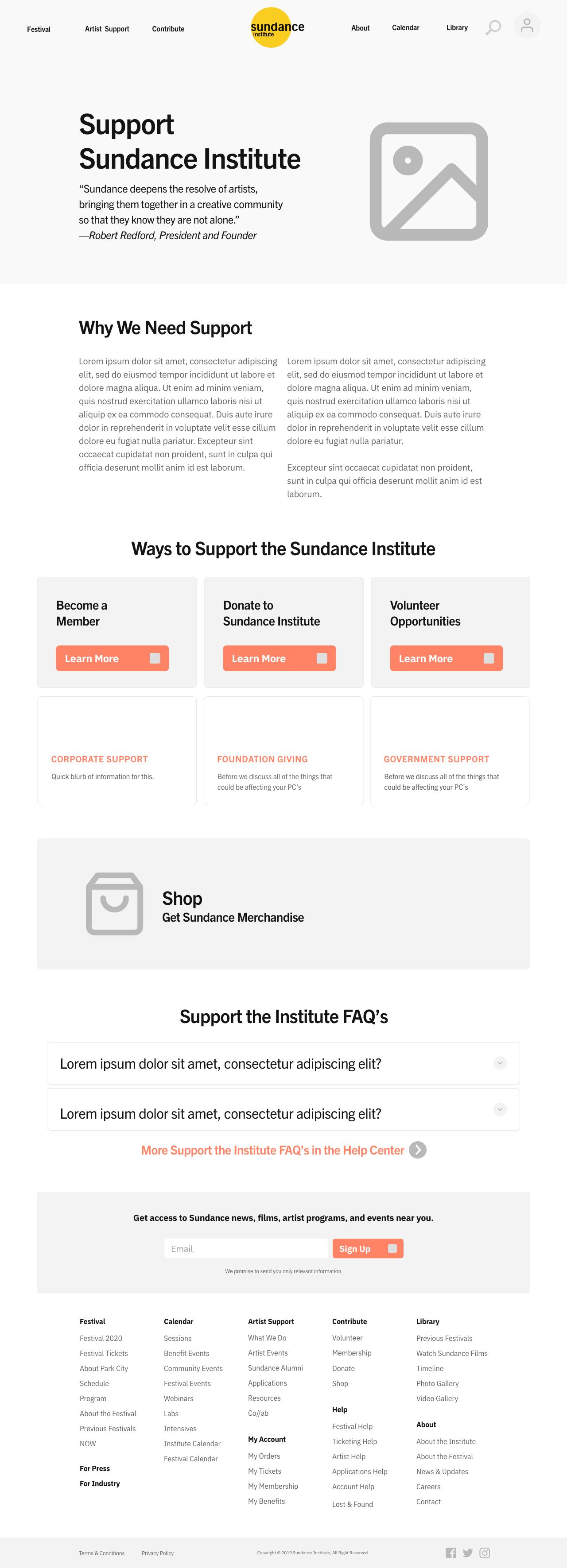 Sundance Mockup | Contribute Page